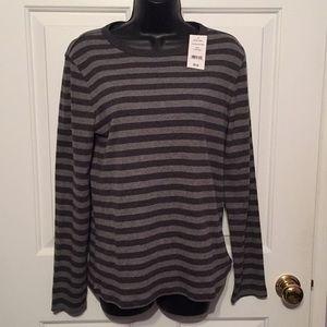 New Joe Fresh dark/light gray striped top